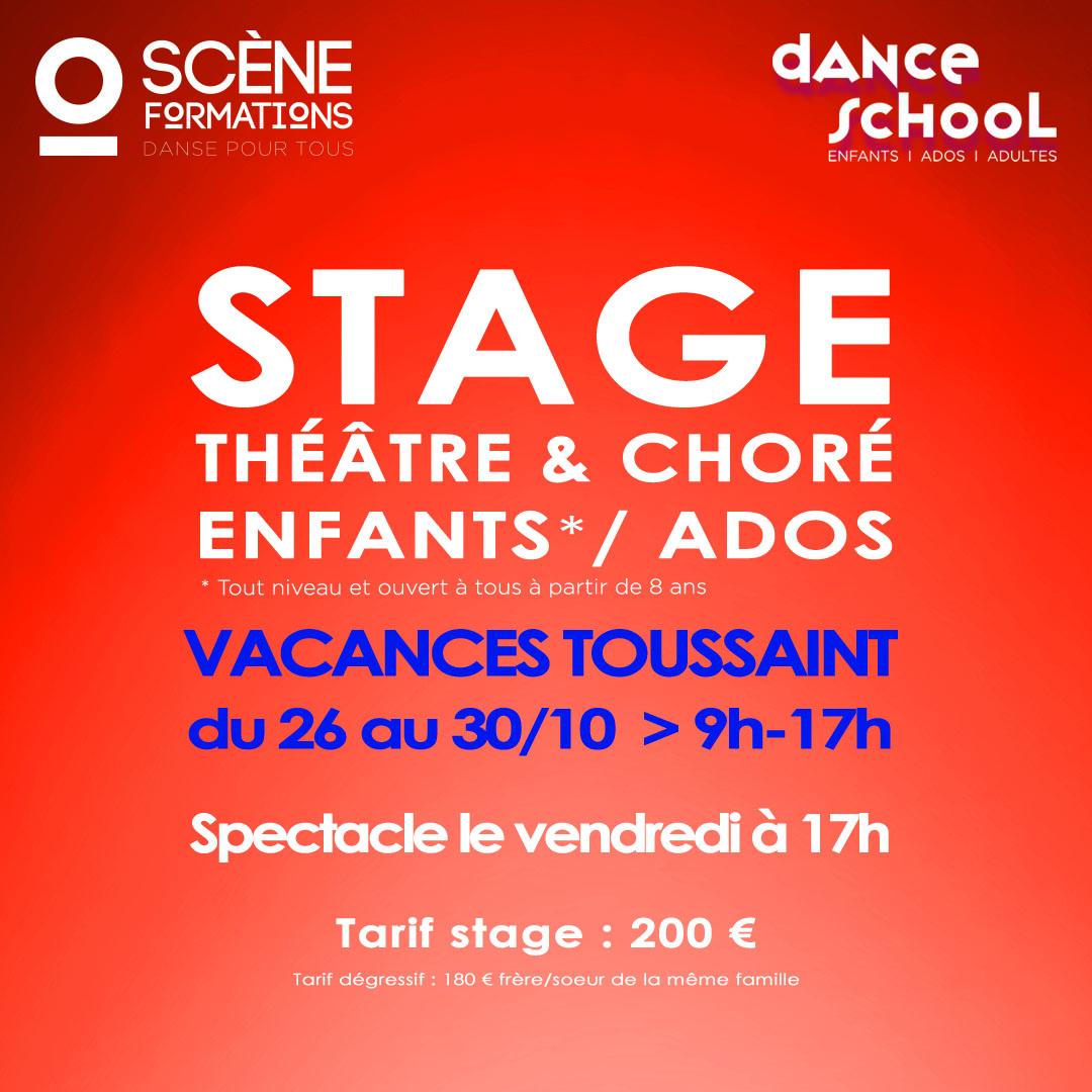 stage danse théâtre choré vacances toussaint enfants ados