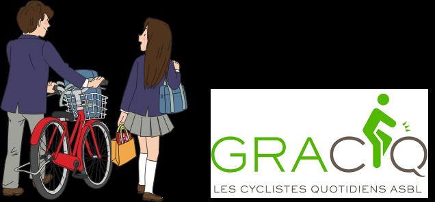 Deux écoliers avec un vélo et le logo du GRACQ