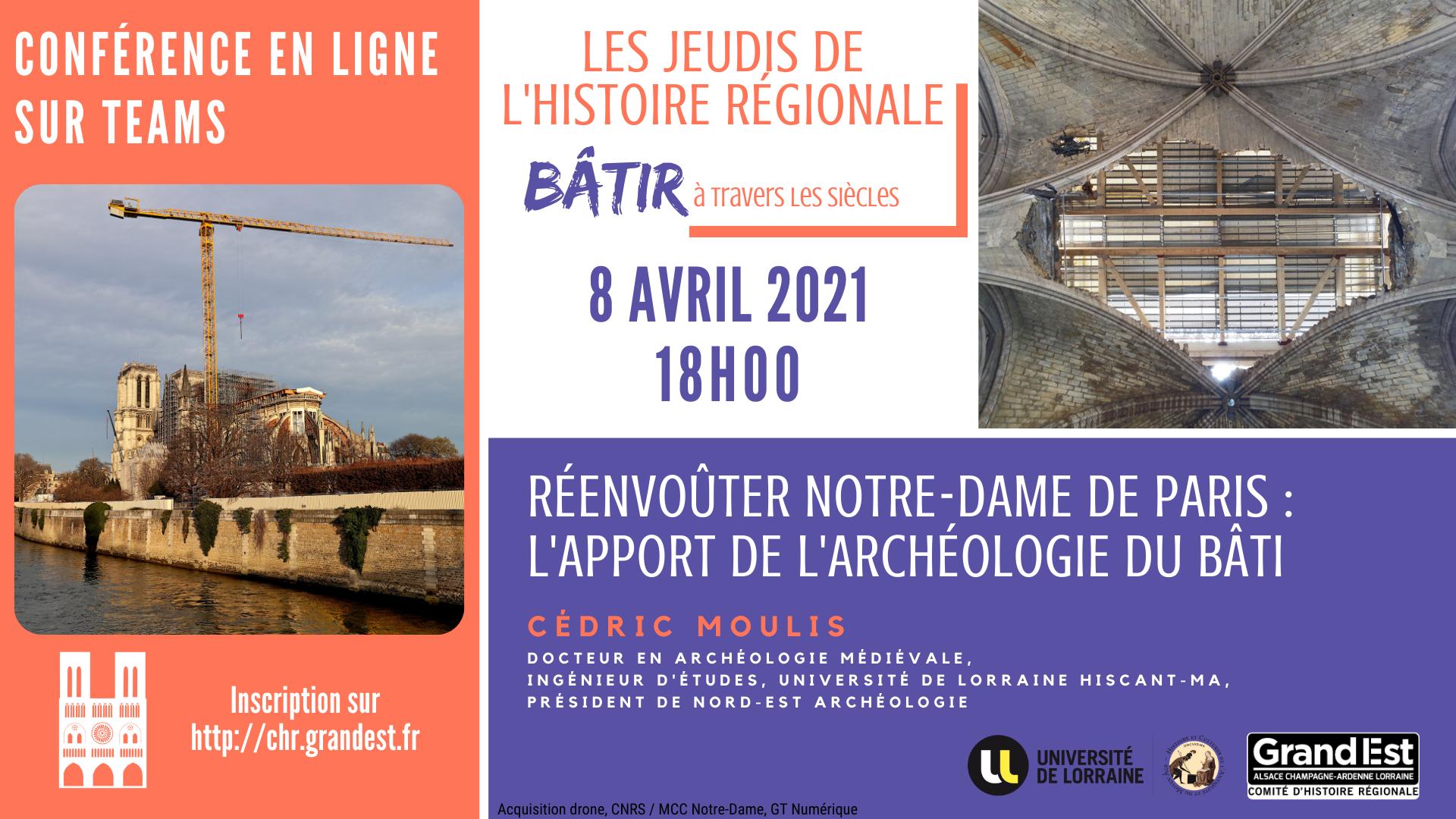"""Conférence en ligne """"Réenvoûter Notre-Dame de Paris : l'apport de l'archéologie du bâti"""""""